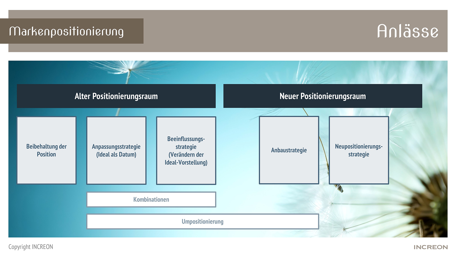 Zwischen der Beibehaltung der Position einerseits und der Neupositionierungsstrategie andererseitsgibt es verschiedene Ausprägungen und Kombinationen.